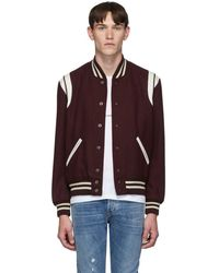 Saint Laurent Burgundy Teddy Bomber Jacket - Multicolor