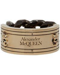 Alexander McQueen Bague a chaine doree et gris acier Bi-Color Identity - Métallisé