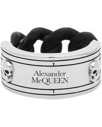 Alexander McQueen シルバー And ブラス アイデンティティー チェーン リング - ブラック