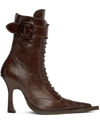 CHARLOTTE KNOWLES Ssense Exclusive Serpent Lace-up Heeled Boots - Brown
