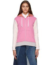 Comme des Garçons Pink & Orange Colorblock Logo Zip-up Hoodie