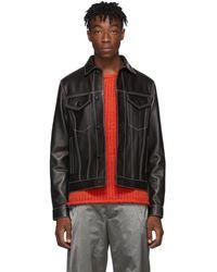 Marni Black Leather Trucker Jacket