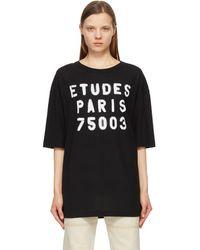 Etudes Studio ブラック Museum Stencil T シャツ