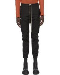 Rick Owens Black Poplin Cargo Jogger Trousers
