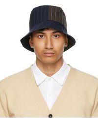 Barena Navy & Black Linen Gianto Bucket Hat - Blue