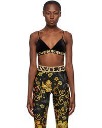 Versace Jeans Couture - ブラック ベルベット トライアングル ブラ - Lyst