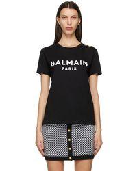 Balmain - ブラック & ホワイト ロゴ T シャツ - Lyst