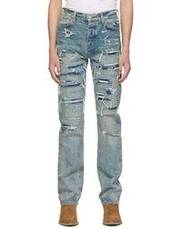 Amiri Indigo Boro Repair Jeans - Blue