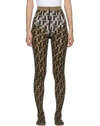 Fendi Brown And Black Forever Tights