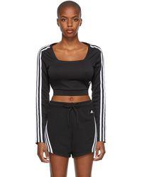 adidas Originals ブラック Adicolor Classics ロング スリーブ T シャツ
