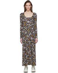 Les Rêveries Black Floral Slit Dress