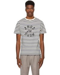 JW Anderson - Navy And Off-white Striped Logo T-shirt - Lyst