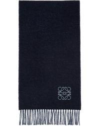 Loewe - ブルー And ネイビー ウール アナグラム マフラー - Lyst