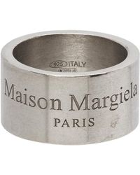 Maison Margiela - シルバー ワイド ロゴ リング - Lyst