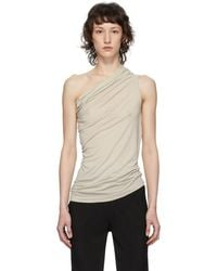 Rick Owens Lilies Gray Heavy Jersey One Shoulder Tank Top