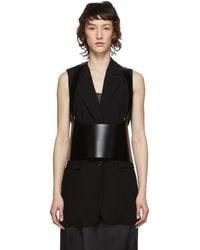 Ann Demeulemeester Black Leather Suspender Corset