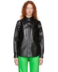 Kwaidan Editions ブラック フェイクレザー ポインテッド カラー シャツ