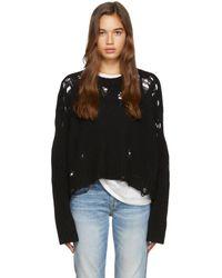 R13 Black Shredded Side Slit Sweater