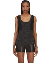 CoSTUME NATIONAL - Black Dot & Lace Silk Tank Top - Lyst