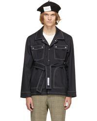 Daniel W. Fletcher Contrast Stitch Field Jacket - Blue