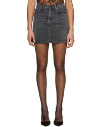 Saint Laurent - Grey Classic Denim Miniskirt - Lyst
