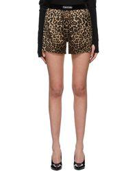 Tom Ford Brown Silk Leopard Pj Shorts