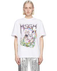 MSGM - ホワイト Cat ロゴ T シャツ - Lyst