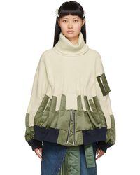 Sacai Off-white Knit Ma-1 Turtleneck - Multicolour