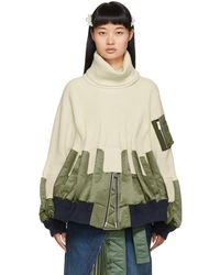 Sacai Off-white Knit Ma-1 Turtleneck - Multicolor