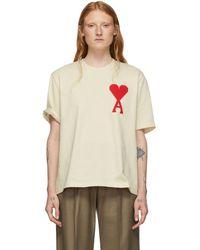 AMI オフホワイト Ami De Coeur オーバーサイズ パッチ T シャツ - ナチュラル