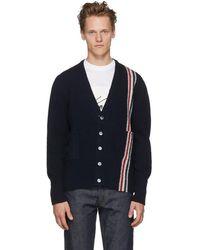 Thom Browne - Navy Classic V-neck Stripe Cardigan - Lyst