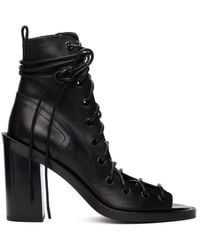 Ann Demeulemeester Lace-up Heeled Sandals - Black