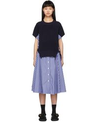 Sacai ネイビー ストライプ ニット パネル ドレス - ブルー