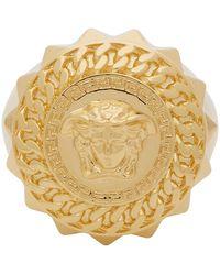 Versace - Gold Medusa Signet Ring - Lyst