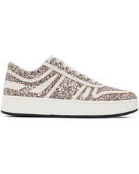 Jimmy Choo Multicolour Leather Glitter Hawaii Sneakers - White