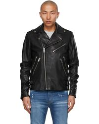 DIESEL Black Leather L-garrett Biker Jacket - Blue