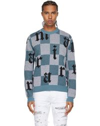 Amiri ブルー & ホワイト チェック ロゴ セーター