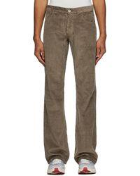 ERL Pantalon en velours côtelé brun - Marron