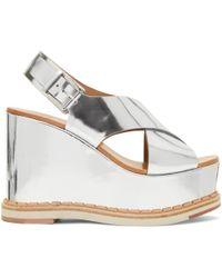 Flamingos - Silver Mirror Trendy Wedge Sandals - Lyst