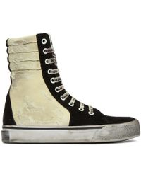 Palm Angels - Black & Off-white Distressed Suede Super High-top Sneakers - Lyst
