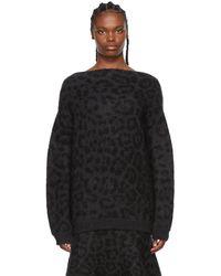 Valentino ブラック & グレー モヘア Leopard セーター