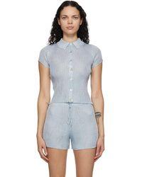 Calle Del Mar Blue Ribbed Short Sleeve Shirt