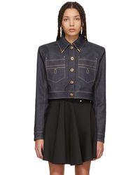 Versace | Blue Denim Cropped Jacket | Lyst