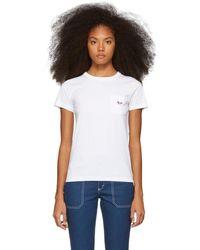 Maison Kitsuné - White Tricolor Fox Patch Pocket T-shirt - Lyst