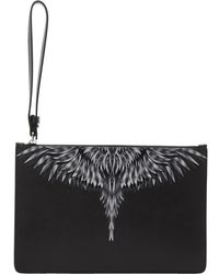 Marcelo Burlon Black And White Sharp Wings Pouch