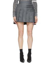 Thom Browne Gray Pleated 4-bar Miniskirt
