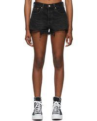 Levi's Black Denim Faded 501 Original Shorts