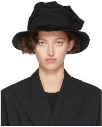 Y's Yohji Yamamoto Black Frill Cloche Hat