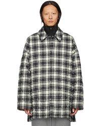 Balenciaga グレー チェック フランネル パッド シャツ コート