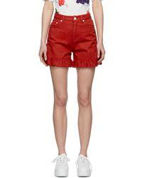 MSGM - Red Denim Ruffled Shorts - Lyst